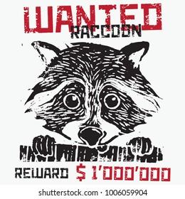 Vector Linocut Illustration: Wanted Raccoon