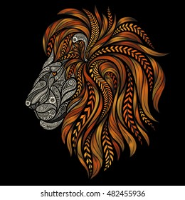 Vector lion of beautiful patterns patterns with a fiery mane on a black background
