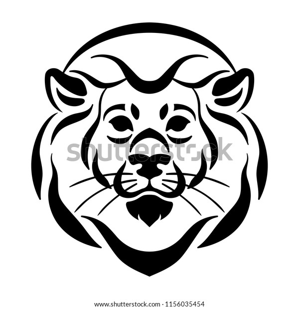 Vector Lion Face Tattoo Sketch Big Stock Vector Royalty Free
