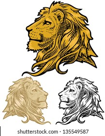 vector lion head in 3 different versions