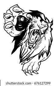 Vector lion leaping For tattoo design or decoration shirt.