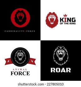 Vector Lion Logo Graphic Designs on Black and White Background.