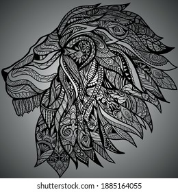 vector lion side head design art