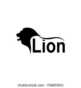 Vector lion silhouette view side for retro logos, emblems, badges, labels template vintage design element. Isolated on white background
