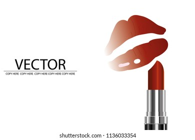 vector lip ans lipstick on white background