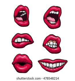 Vector lips set.