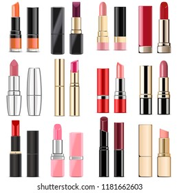 Vector Lipstick Icons  isolated on white background