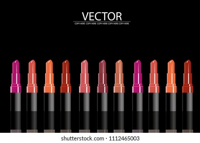 vector lipstick on black background