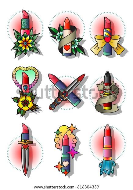 Vector Lipstick Set Traditional Tattoo Designs Stock Vector (Royalty ...
