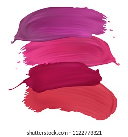 Vector lipstick smears isolated on white background. Modern design element for salons, beauty shops.