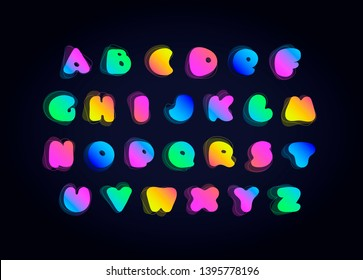 Vector liquid amoeba font. Cartoon illuminated multicolor gradient letters isolated on black. Concept of night life, fashion, holiday. Trendy design for special advertising campaign web, store, club