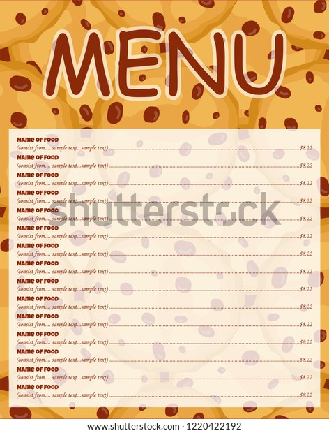 Vector List Background Template Menu Place Stock Vector