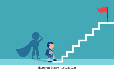 Vector of a little boy with a super hero shadow climbing up stairs to reach his goal on the top
