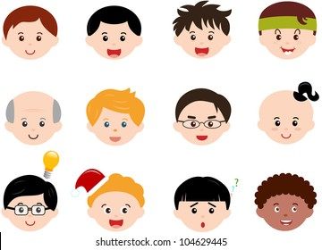Vector of Little Boys, man men, Kids, male theme with different ethnics. A set of cute and colorful icon collection isolated on white background