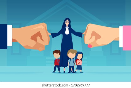 Vector of little children and a judge caught between divorcing parents who are fighting over custody