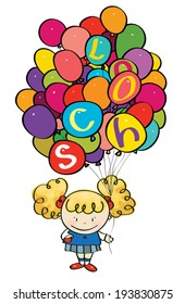 Vector little girl holding many colorful balloons with school letters.