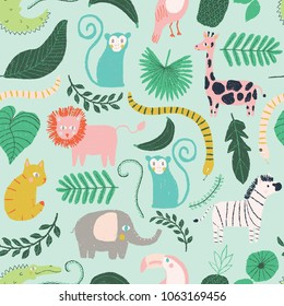 vector little jungle seamless repeat background pattern, jungle animal pattern