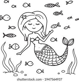 Vector little mermaid with fishes, coloring page.