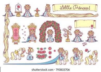 vector Little Princess trendy flat girlish concept. Cute queen girl collection. Cartoon character elements. Colorful objects illustration. Graphics set isolated on transparent background.