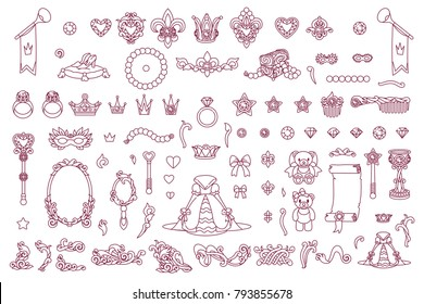 vector Little Princess trendy flat girlish concept. Cute queen girl collection. Cartoon jewelry elements black and white outline objects illustration. Line royal graphics set isolated background