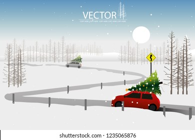 vector little red car pick up christmas tree on winter background.Winding road sign