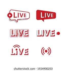 Vector- Live icon collection on white background.