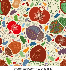 Vector lively vibrant orchard fruit and leaves seamless pattern background in ornamental folk art style. Perfect for fabric, scrapbooking, giftwrap, wall paper projects, stationary, thanksgiving