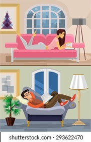 Vector living room with boy and girl. Flat illustration