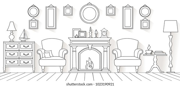 Vector living room in outline style. Linear interior with furniture and fireplace.