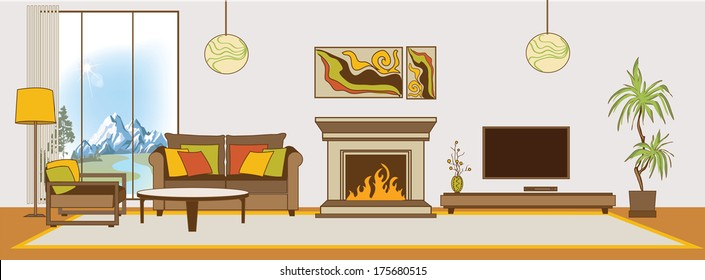 Vector living-room interior. Flat design stylization. Collection of living-room, dining-room, bathroom, kitchen, bedroom, child's bedroom vector interior