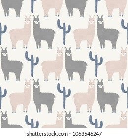 vector llama love seamless repeat background pattern