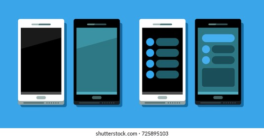 Vector llustration of four flat modern phones. Black and white. Two with empty screen and two with interface. Isolated. On blue background.