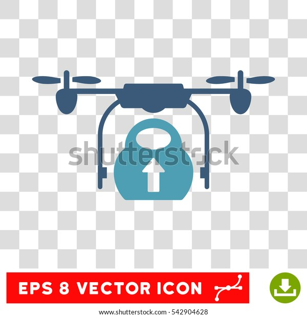 Vector Load Cargo Drone EPS vector icon. Illustration style is flat iconic bicolor cyan and blue symbol on a transparent background.