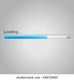 Vector loading bar. Progress of downloading or uploading. Glossy preloader illustration.