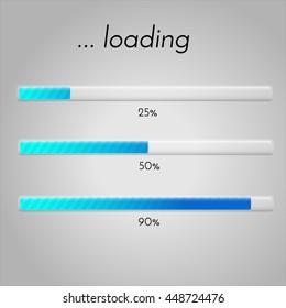 Vector loading bar. Progress of downloading or uploading. Collection of preloader illustrations.