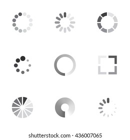 Vector loading icons set on whitge background