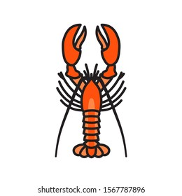 Vector lobster icon. Flat illustration of lobster isolated on white background. Icon vector illustration sign symbol.