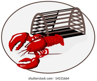 Vector Lobster with Trap is hand drawn original artwork.