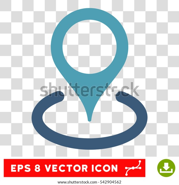 Vector Location EPS vector icon. Illustration style is flat iconic bicolor cyan and blue symbol on a transparent background.