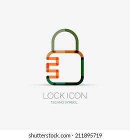 Vector lock, security company logo design, business symbol concept, minimal line style
