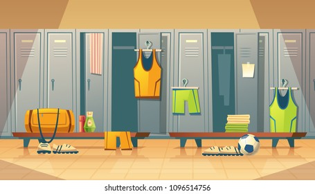 Vector locker or changing room for football, basketball team. Dressing of sports uniform, training equipment, athletic costume. Shelves in school gym, cartoon background