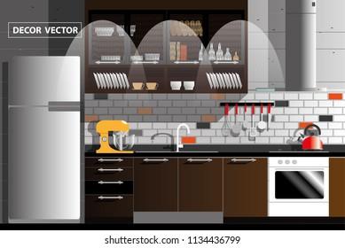 vector loft style kitchen decorate.inteior design