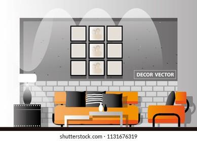 vector loft style living room decor.interior design