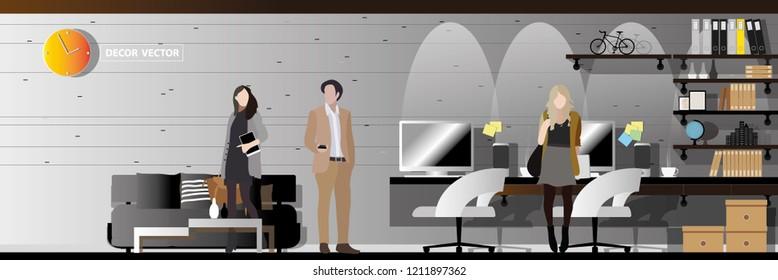 vector loft style office interior decor