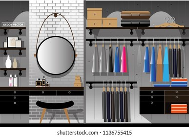 vector loft style walk in closet decor.interior decor