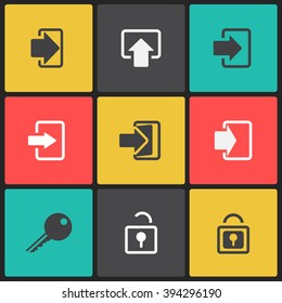 Vector log in web icon set on a bright color square in flat style.Vector login icon set.Login icon vector isolated on a square.Login icon black and white.Login icons