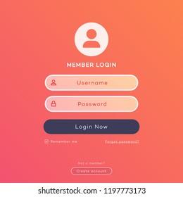 Vector login form page template on modern gradient background for website ui elements, app development, smartphone mockups, online registration, user profile, access to account concept. 10 eps
