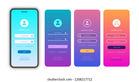 Vector login form page template set on trendy gradient background for app development, smartphone mockups, website ui elements, online login form, registration, user profile, access to account. 10 eps