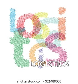 Vector logistics. Broken text scrawled
