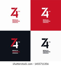 Vector logo for the 74th anniversary of the independence of the Republic of Indonesia